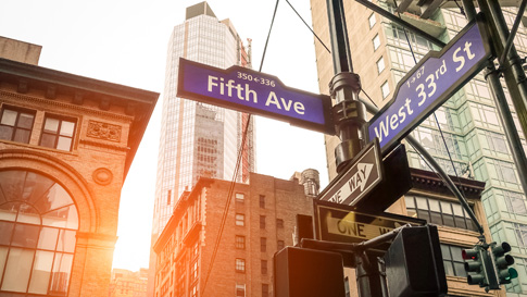 Fifth Avenue and West Street in NY